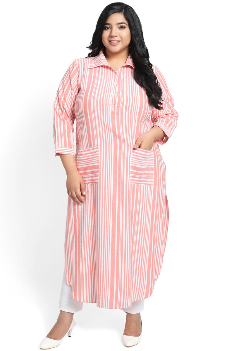 Peach Stripe Roll Up Sleeve Round Hemline Kurti