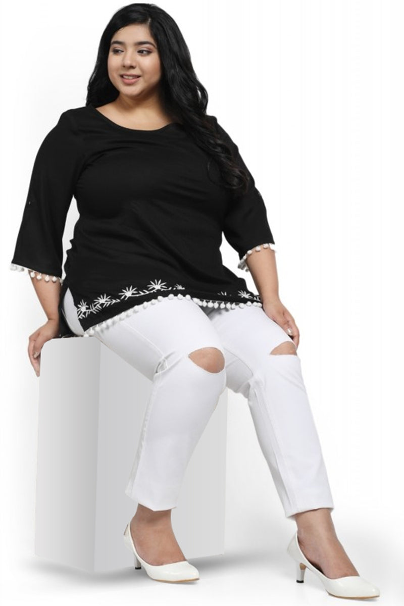 White Knee Slit Stretch Pants