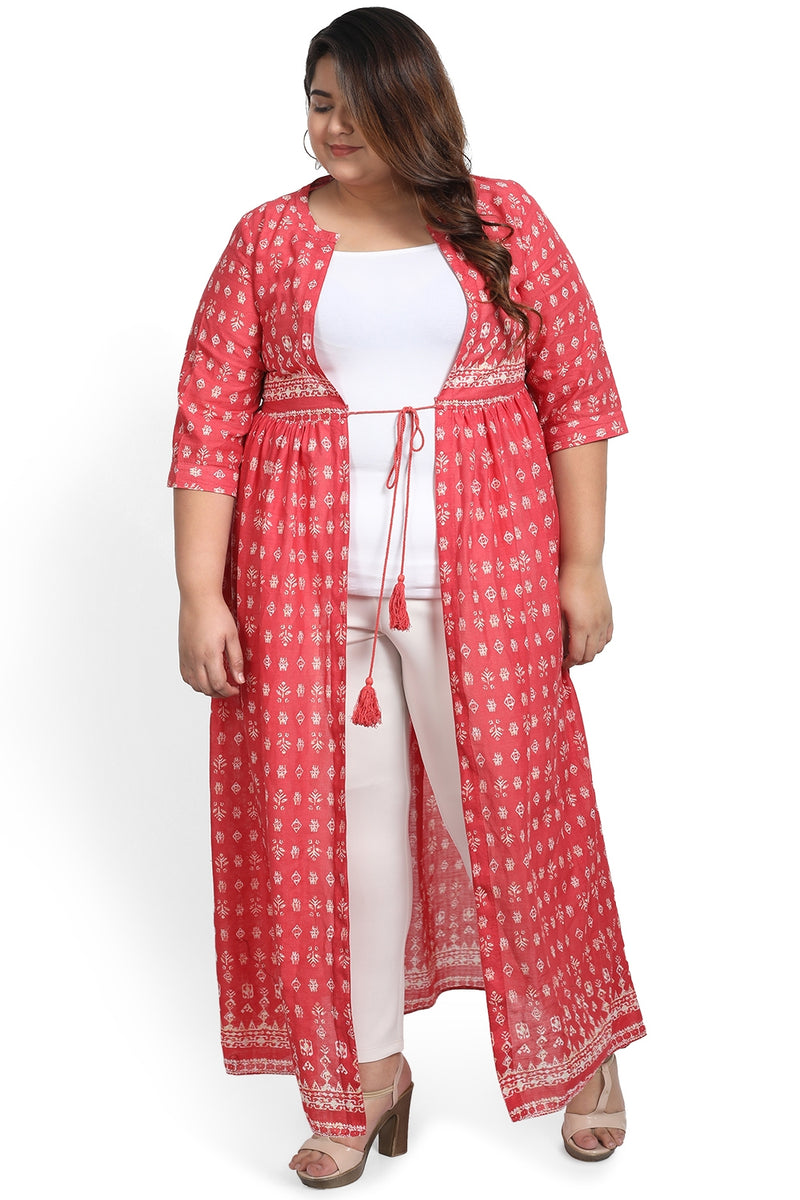 Coral Printed Drawstring Cape Shrug