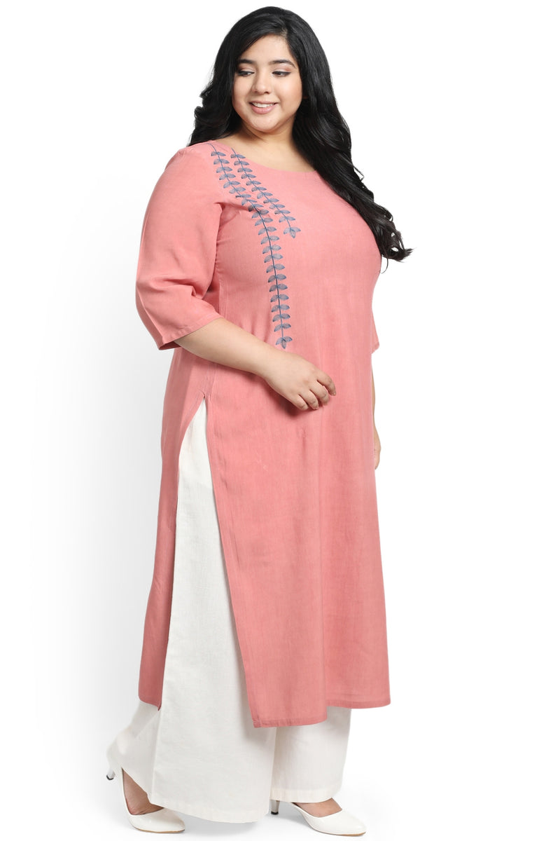 Dark Rose Leaf Embroidery Kurti
