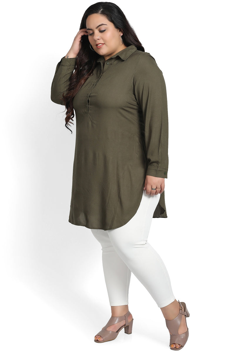 Dark Green Basic Longline Shirt