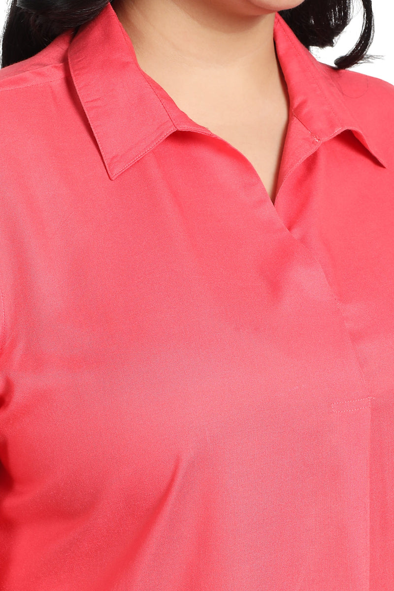 Coral Pink Center Pleat Collar Top