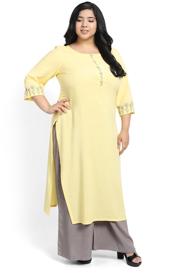 Yellow Sleeve Placket Embroidery Kurti
