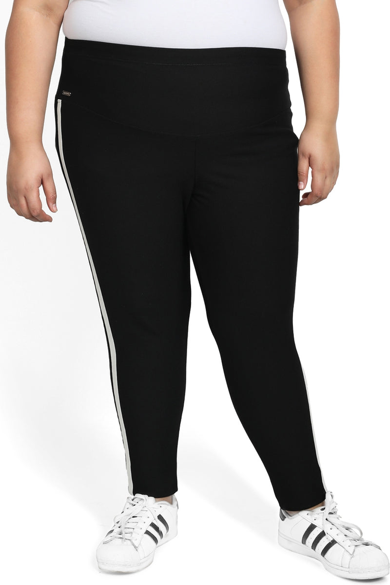 Black Olive Stripe Detail Tummy Shaper Jegging