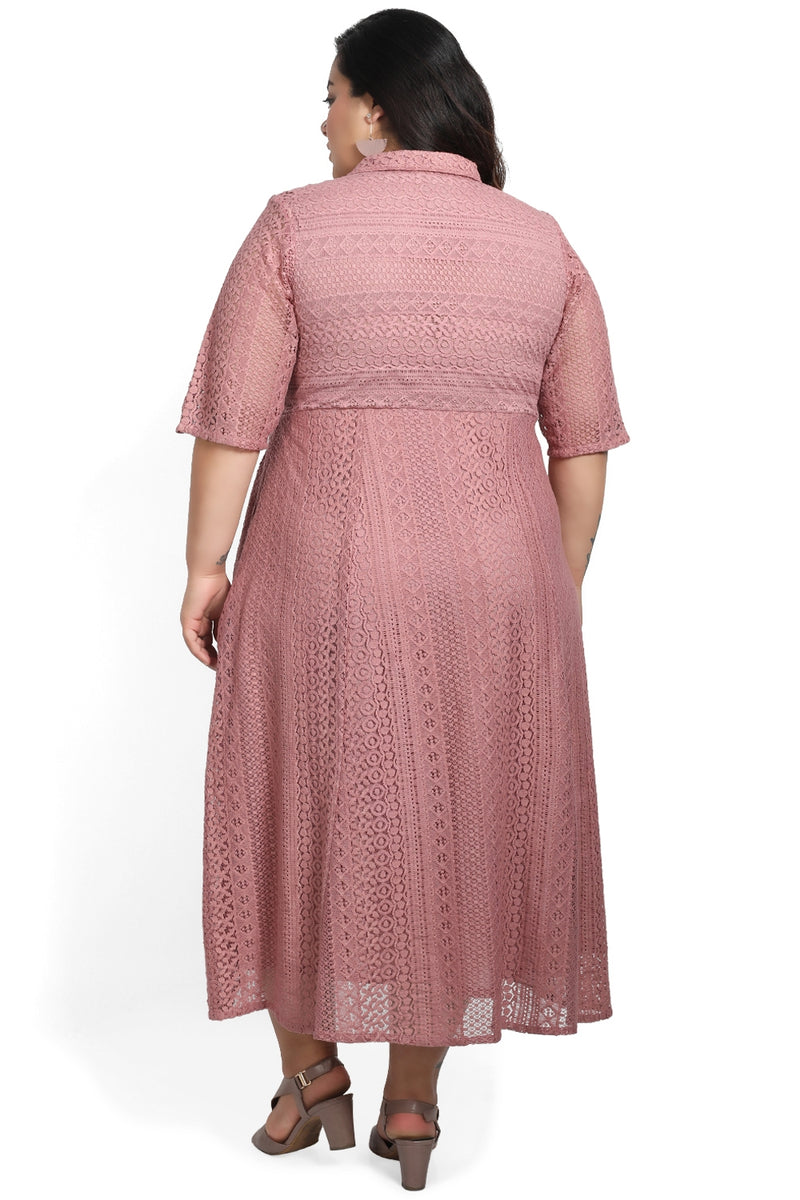 Dark Rose Lace Full Length Dress