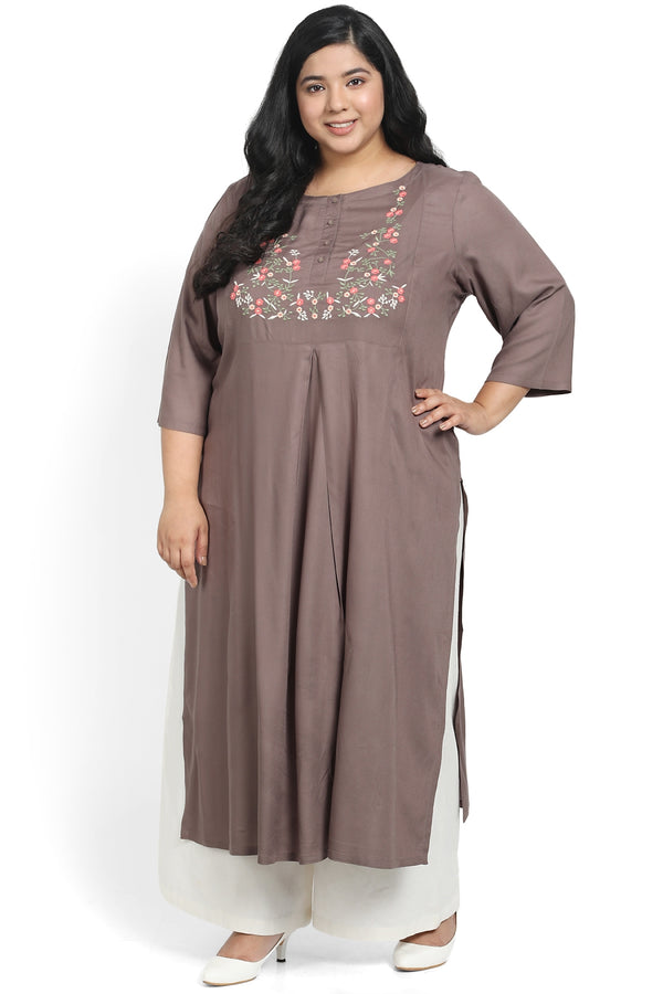 Grey Embroidery Centre Pleat Kurti