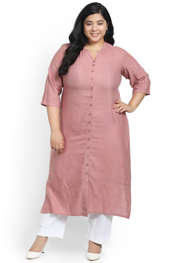 Dark Rose Mandarin Collar Front Open Kurti