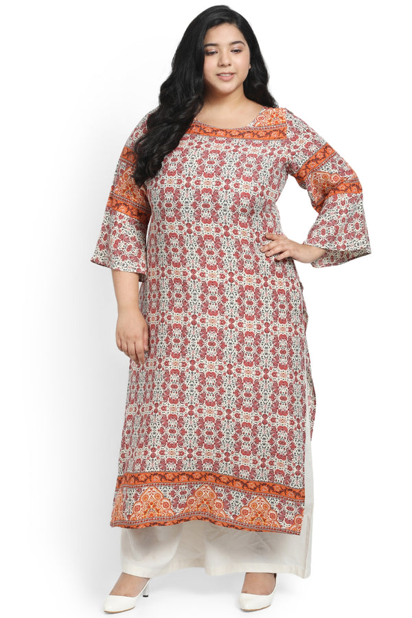 Multicolored Printed Frill Sleeve Kurti