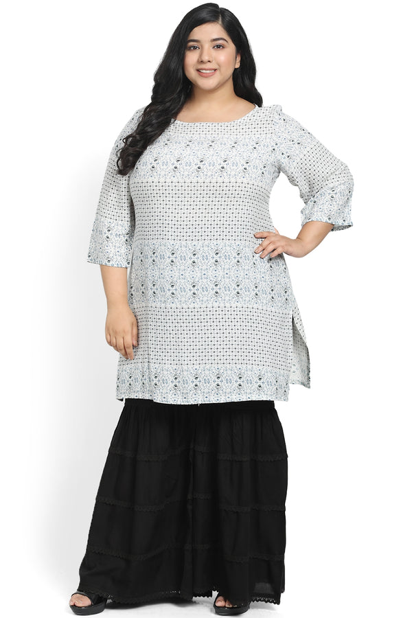 White Blue Printed Short Kurti