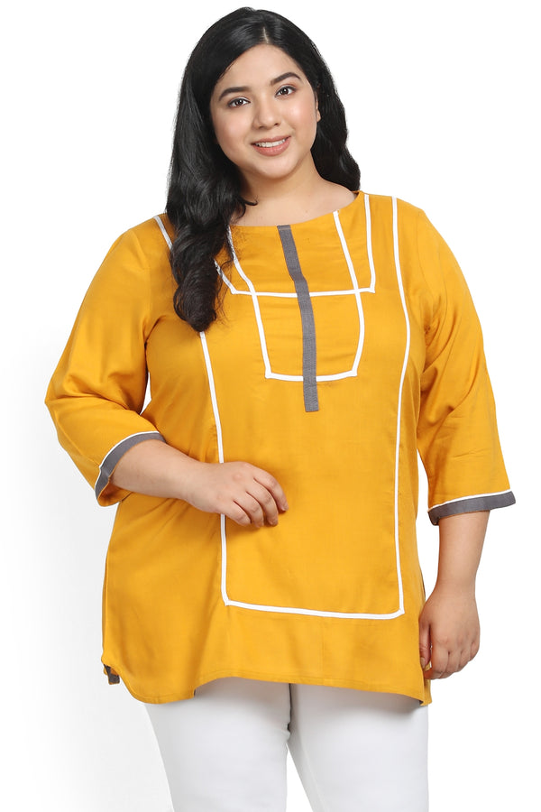 Mustard Geometric Pattern Top