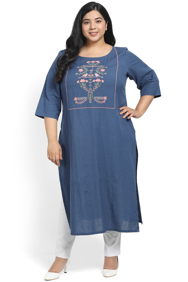 Teal Orchard Embroidery Kurti