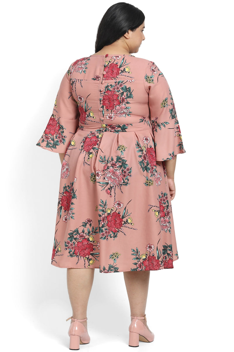 Dark Rose Printed Box Pleat Dress