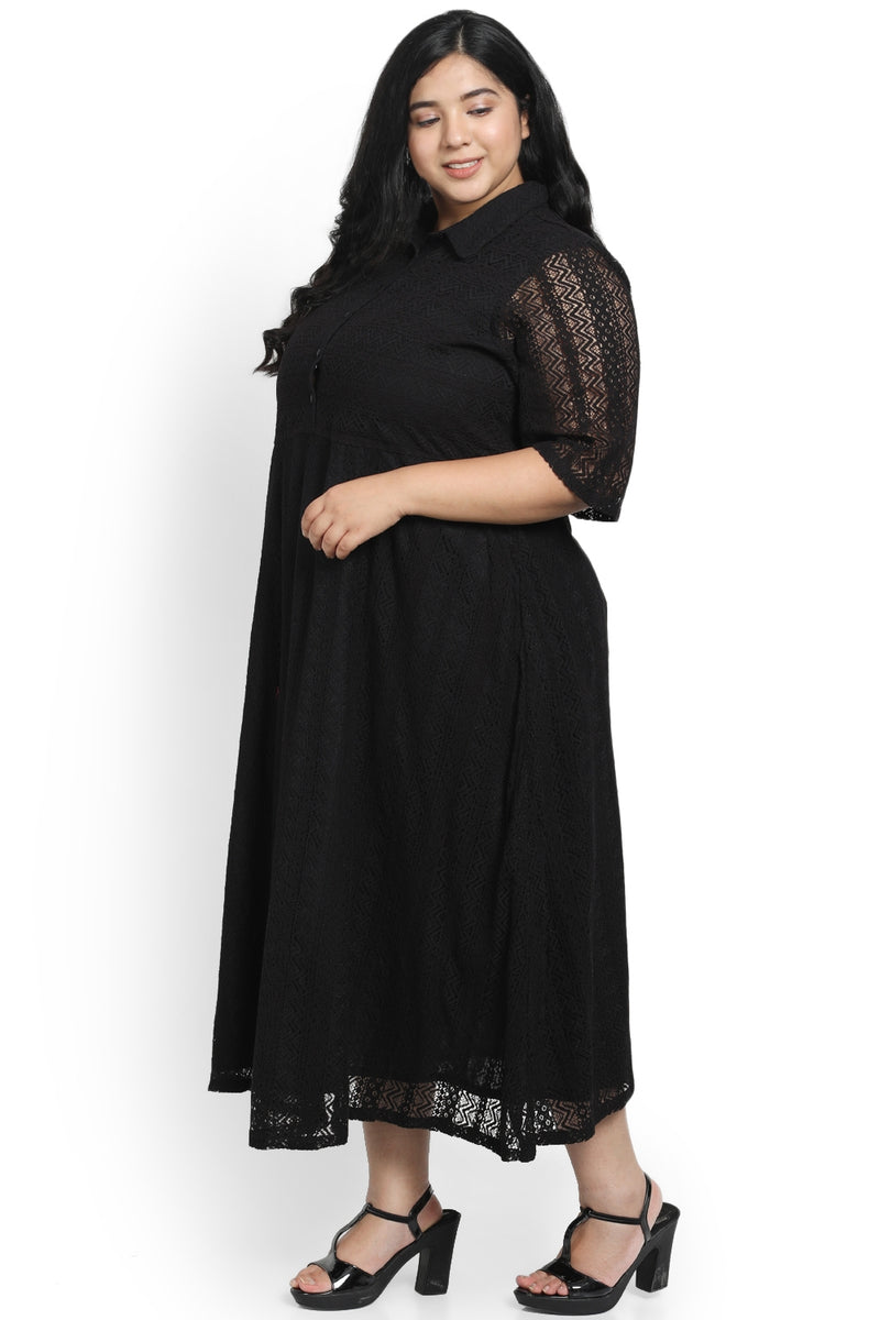 Black Lace Full Length Dress