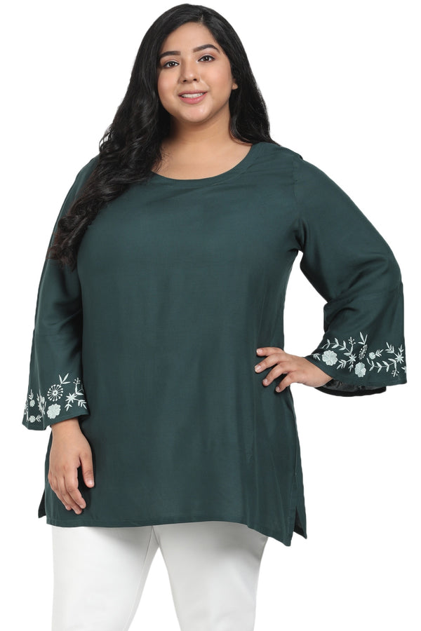 Emerald Green Bell Sleeve Top