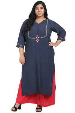 Teal Yoke Embroidery Ankle Length Kurti