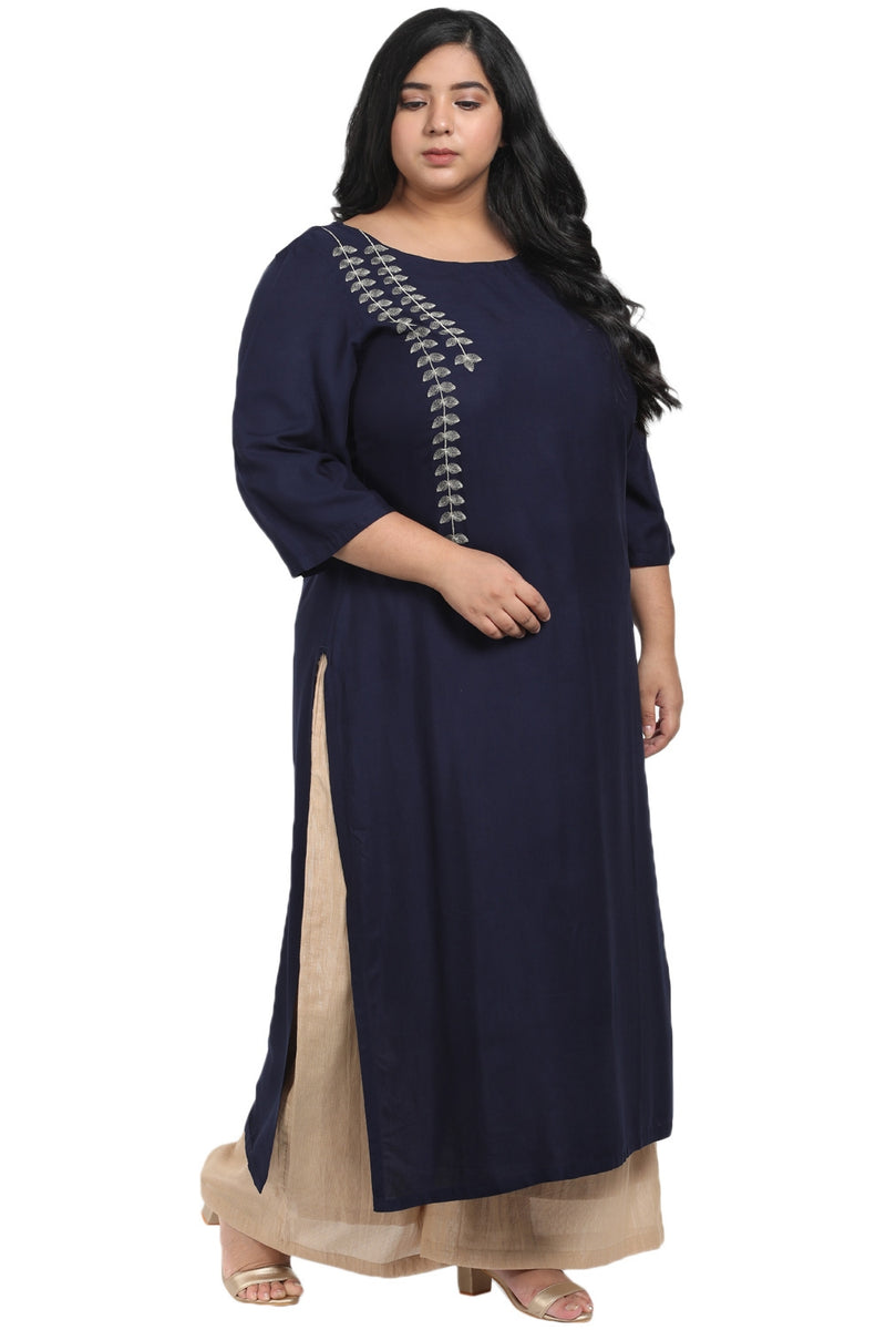 Navy Blue Leaf Embroidery Kurti