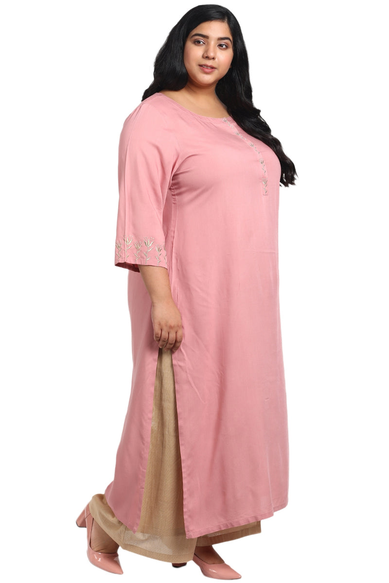 Dark Rose Placket Embroidery Kurti