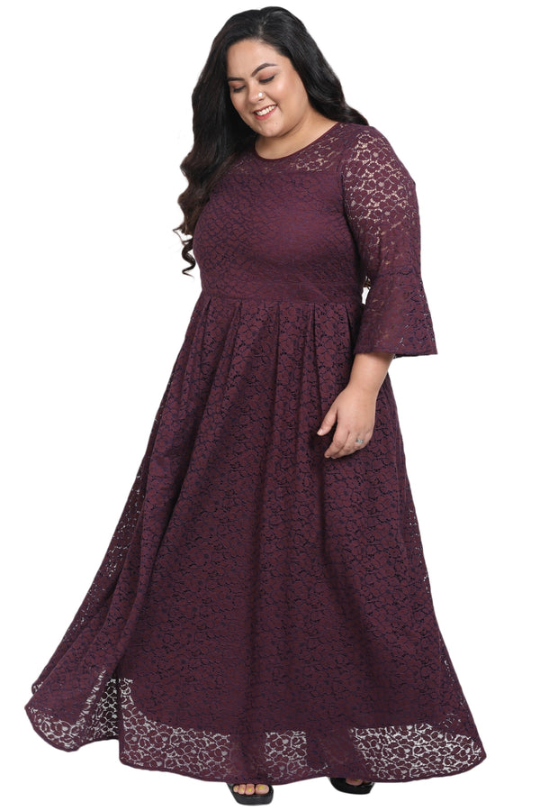 Plum Lace Box Pleat Long Dress