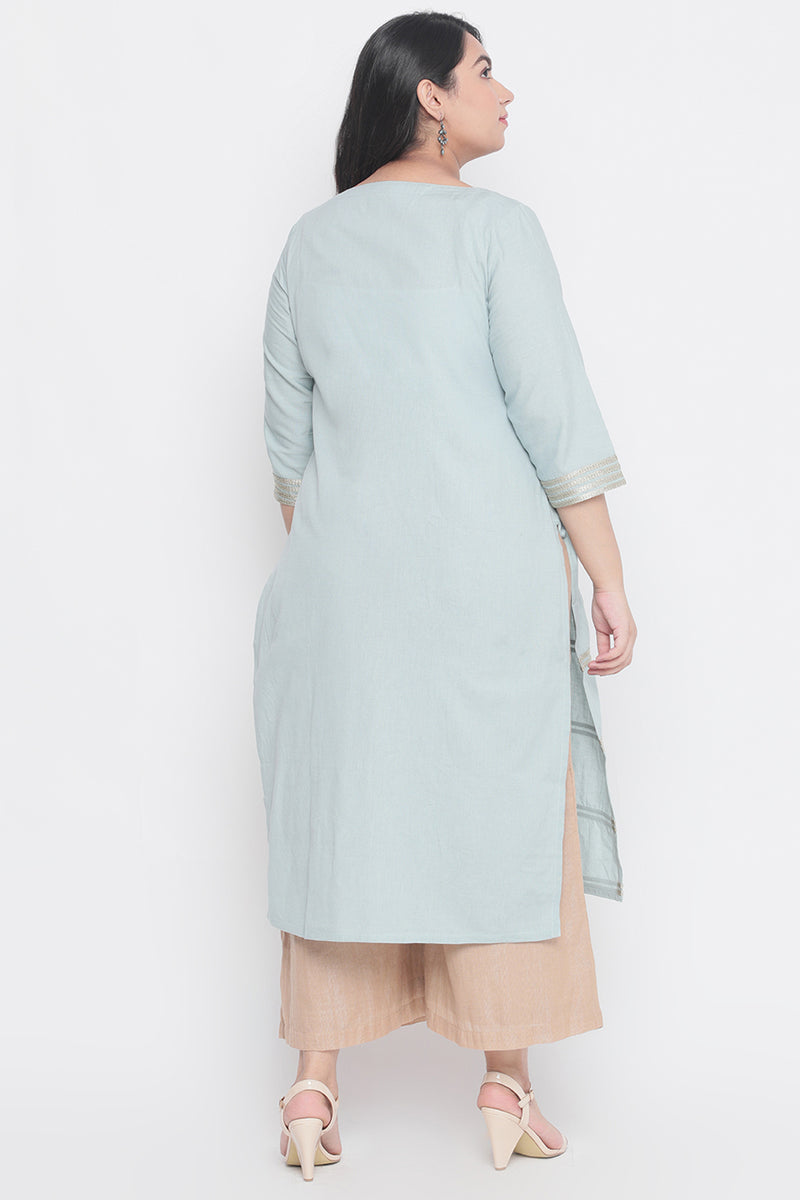 Sea Foam Golden Tape Detail Kurti
