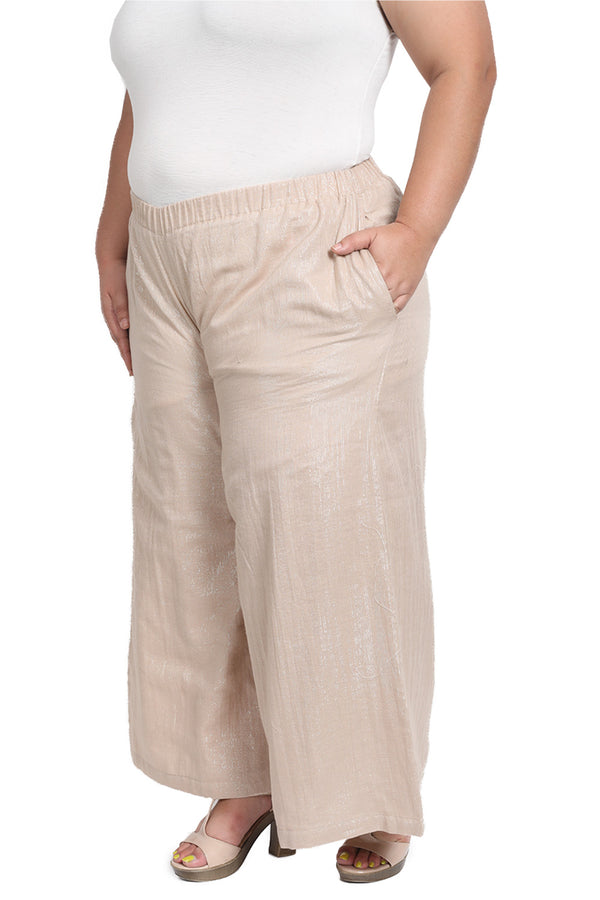 Beige Gold Palazzo Pants