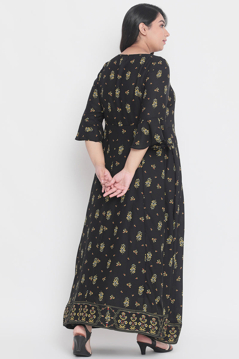 Black Printed Festive Gown