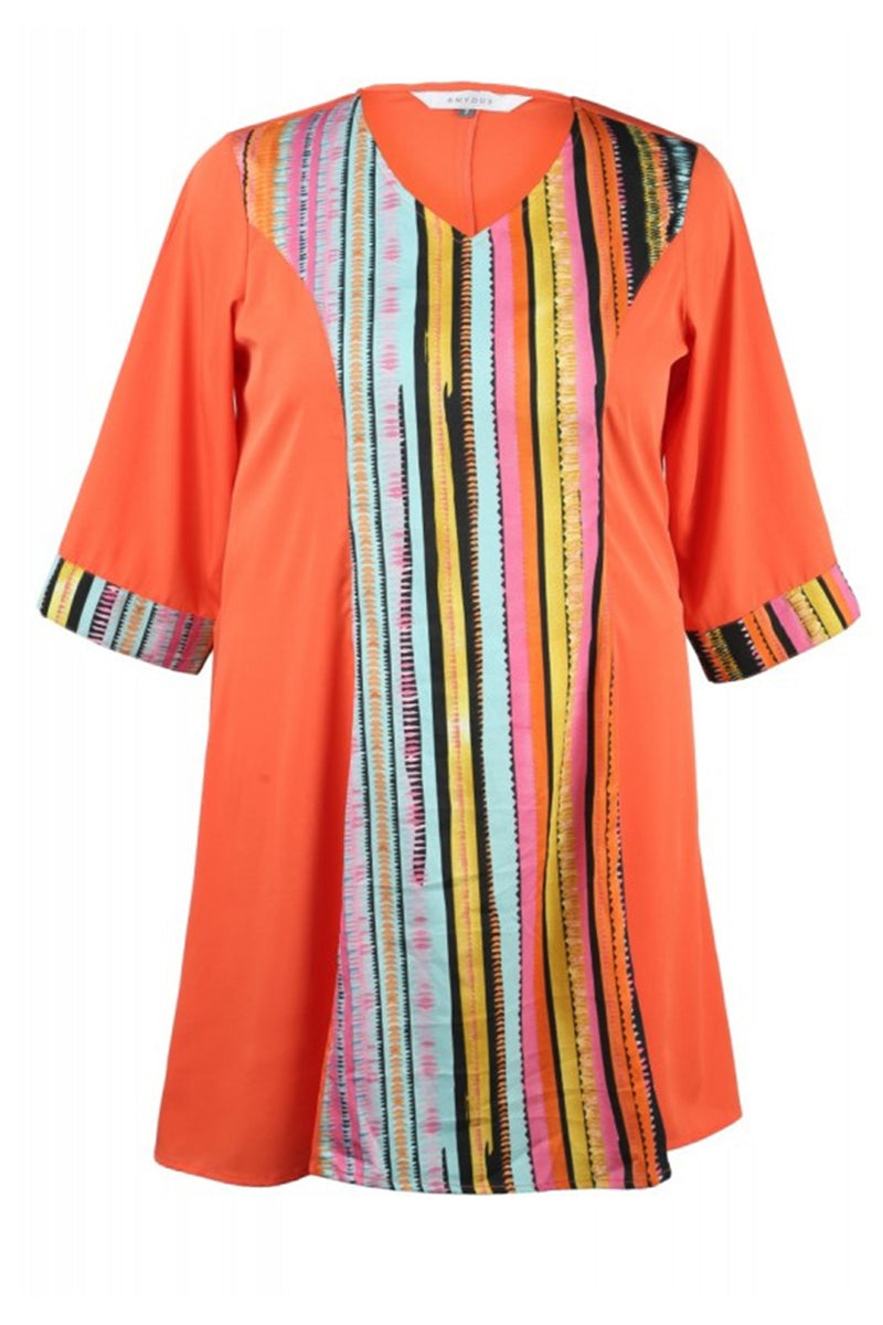 Color Block Print & Coral Kurti