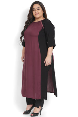 Plum Black Lace Insert Bodycon Kurti