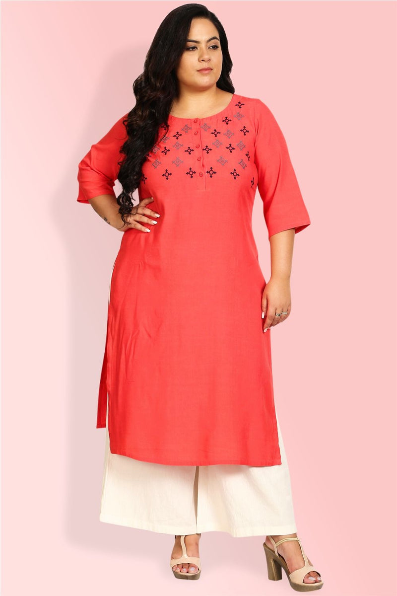 Coral Floral Embroidery Placket Closure Kurti