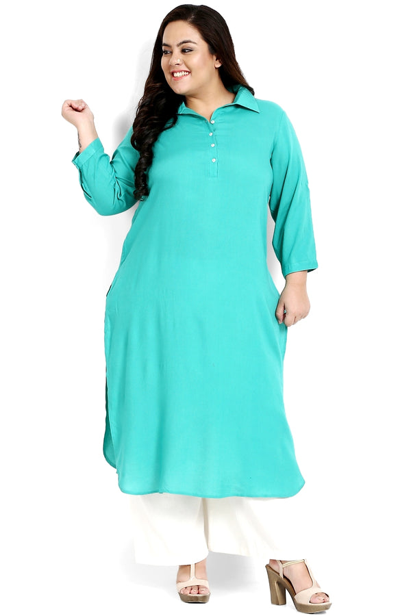 Florida Green Roll Up Sleeve Round Hemline Kurti