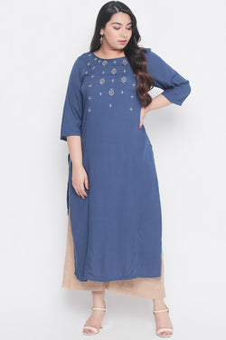 Teal Golden Embroidery Princess Seam Kurti