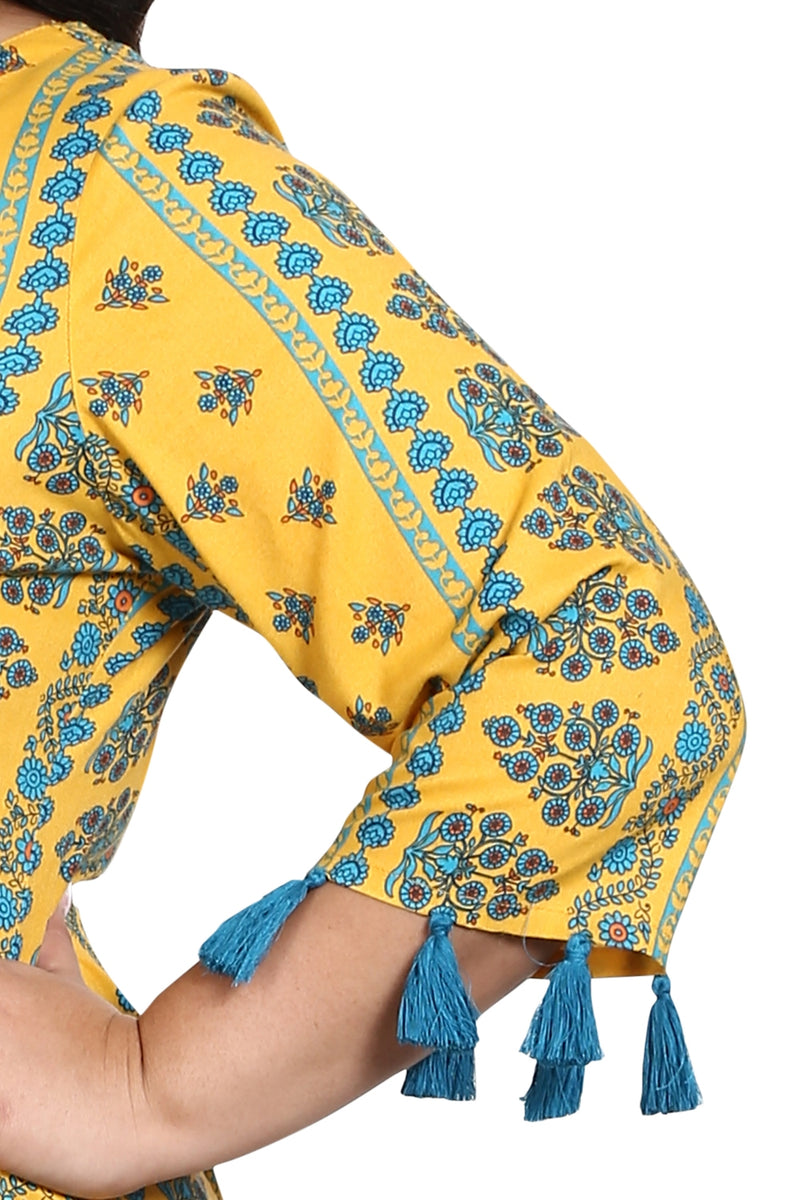 Yellow Blue Print Tassel Sleeve Kurti