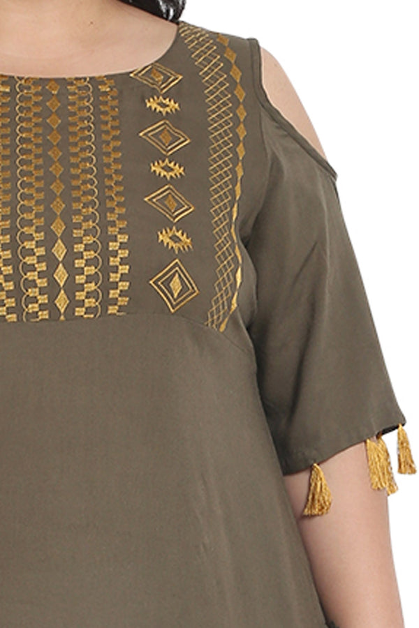 Olive Mustard Embroidered Off Shoulder Kurti