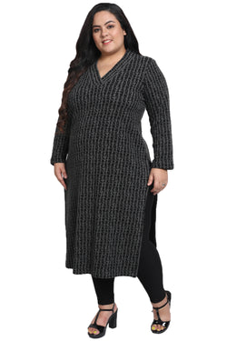 Grey Black Autumn Kurti