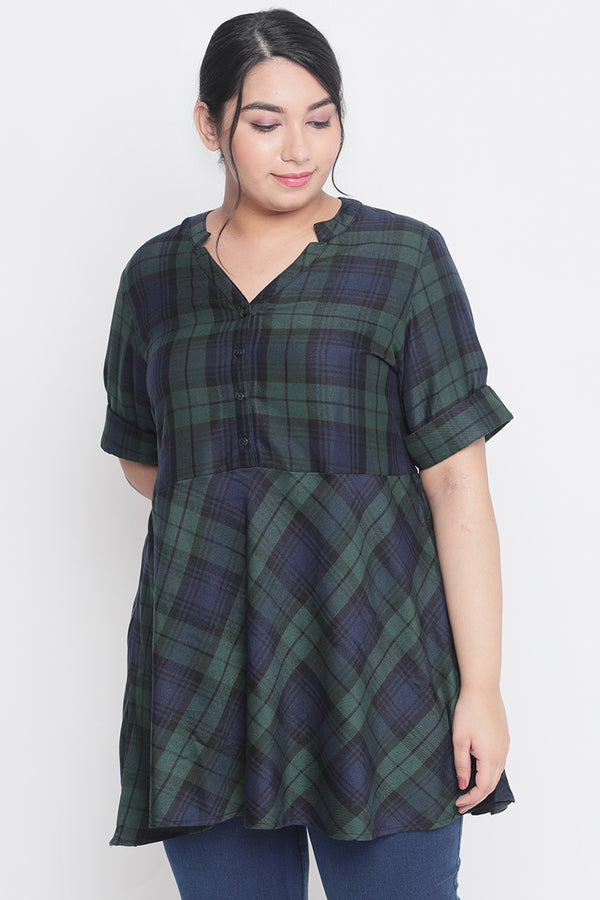 Green Navy Check Peplum Top