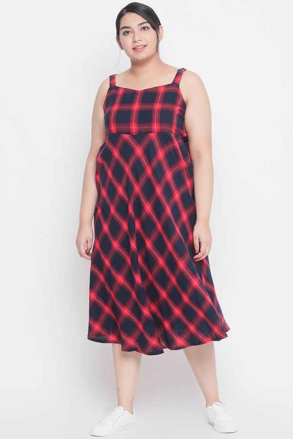 Navy Red Check Strappy A-Line Dress