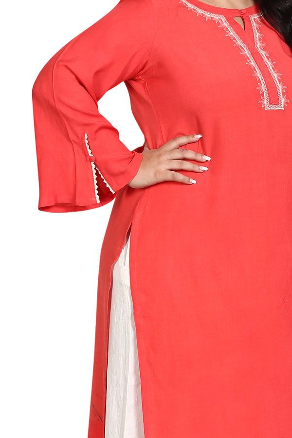 Coral Embroidery & Lace Bell Sleeve Kurti