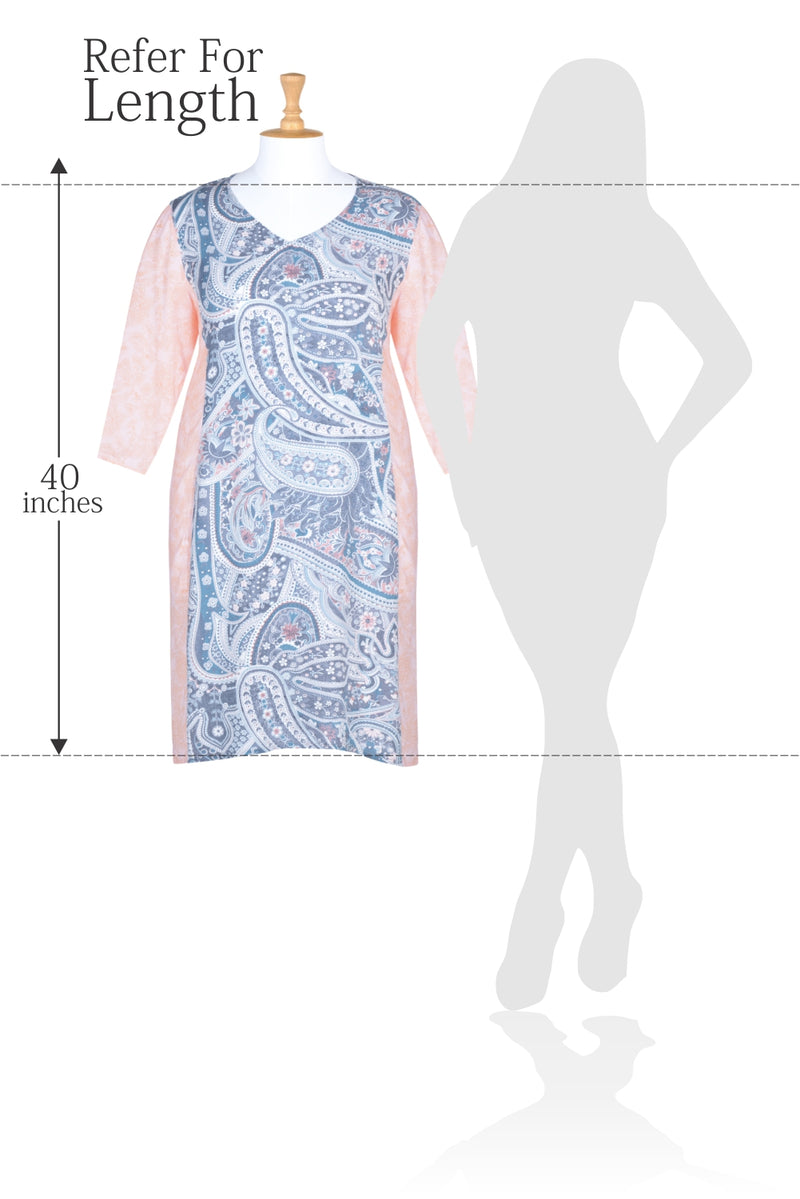 Paisely Print Coral Bodycon Kurti