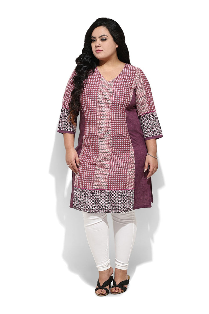 Purple Print Bodycon Kurti