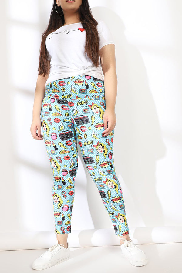 Blue Polka Quirky Tummy SHaper Printed Leggings