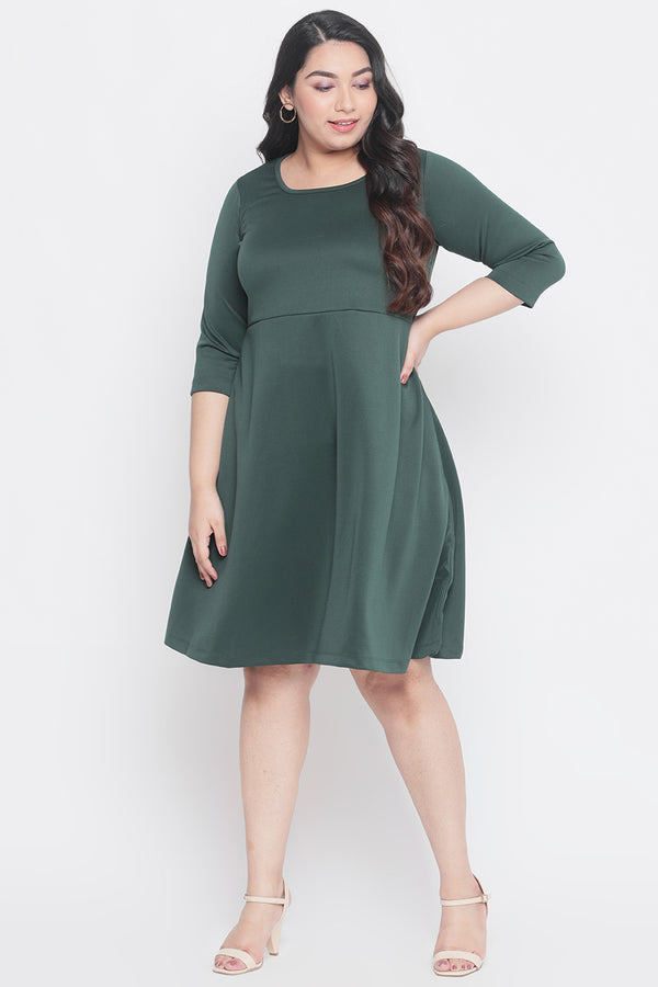 Emerald Green Back Cutout Dress