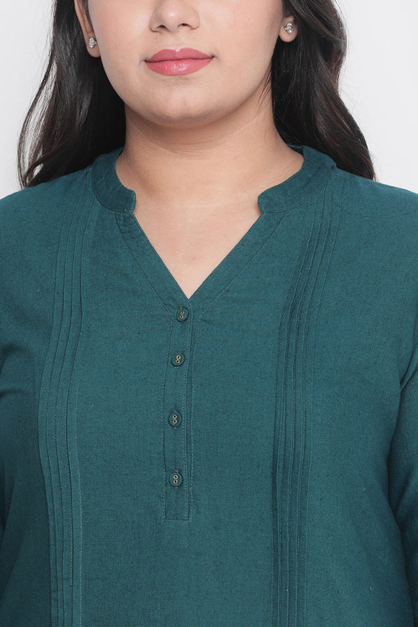 Emerald Green Pleat Detail Round Hemline Kurti