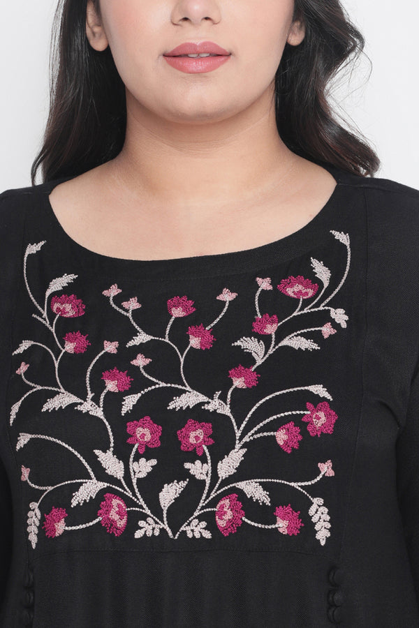 Yoke Embroidered Black Dress