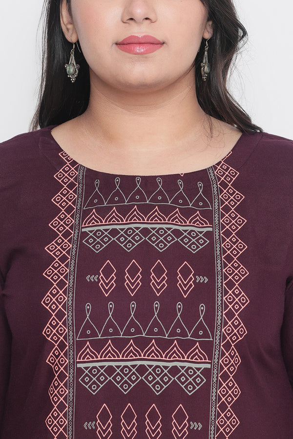 Plum Grey Bottom Panel Yoke Printed Kurti