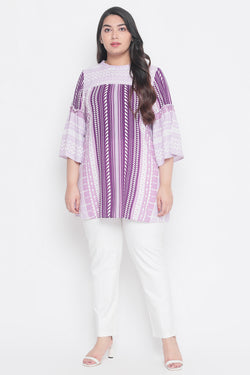 Lavender Bird Printed Bell Sleeves Top