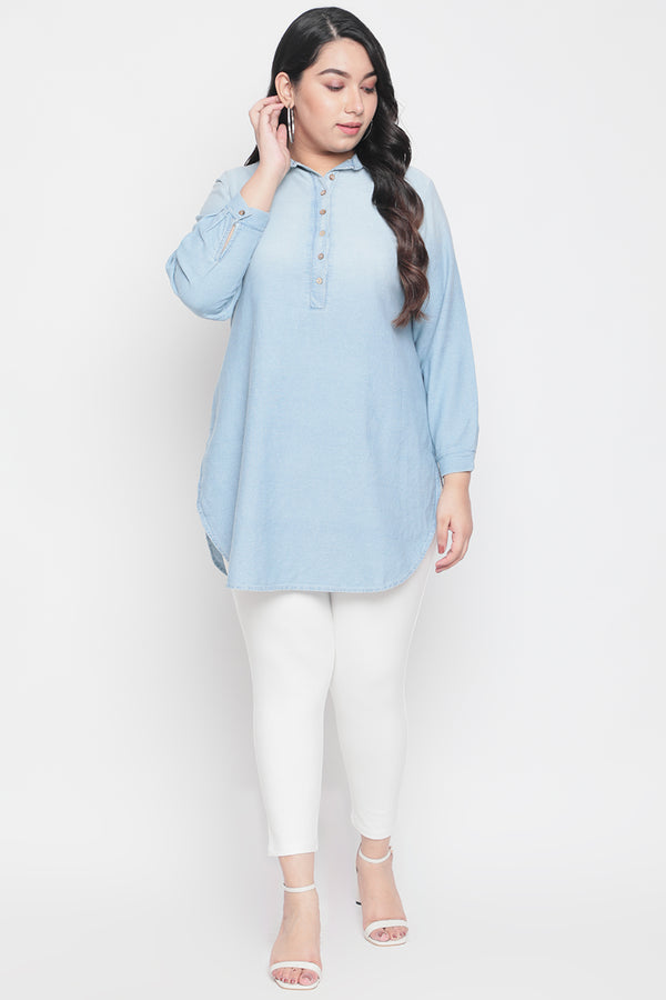 Ice Wash Denim Longline Shirt