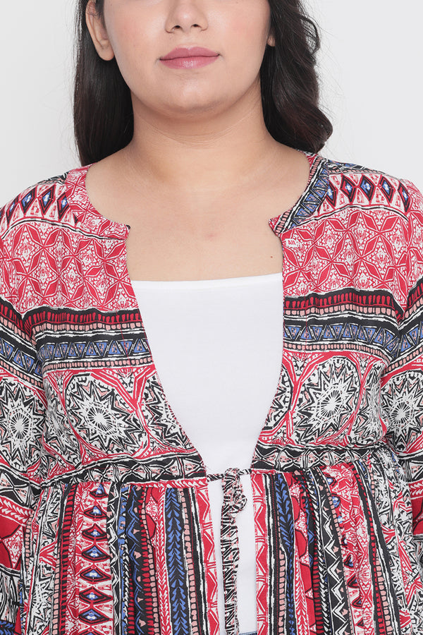 Red Blue Printed Drawstring Cape Shrug