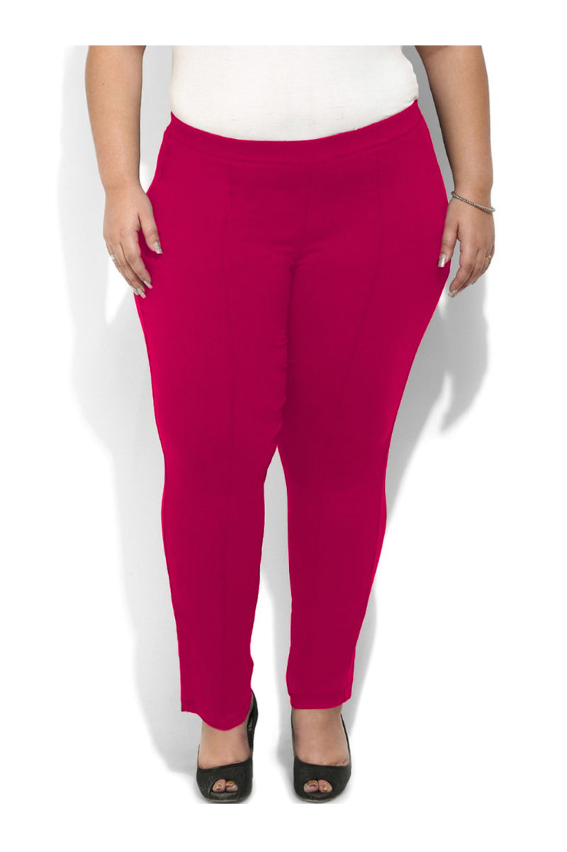 Crease Seam Pink Pull On Pants
