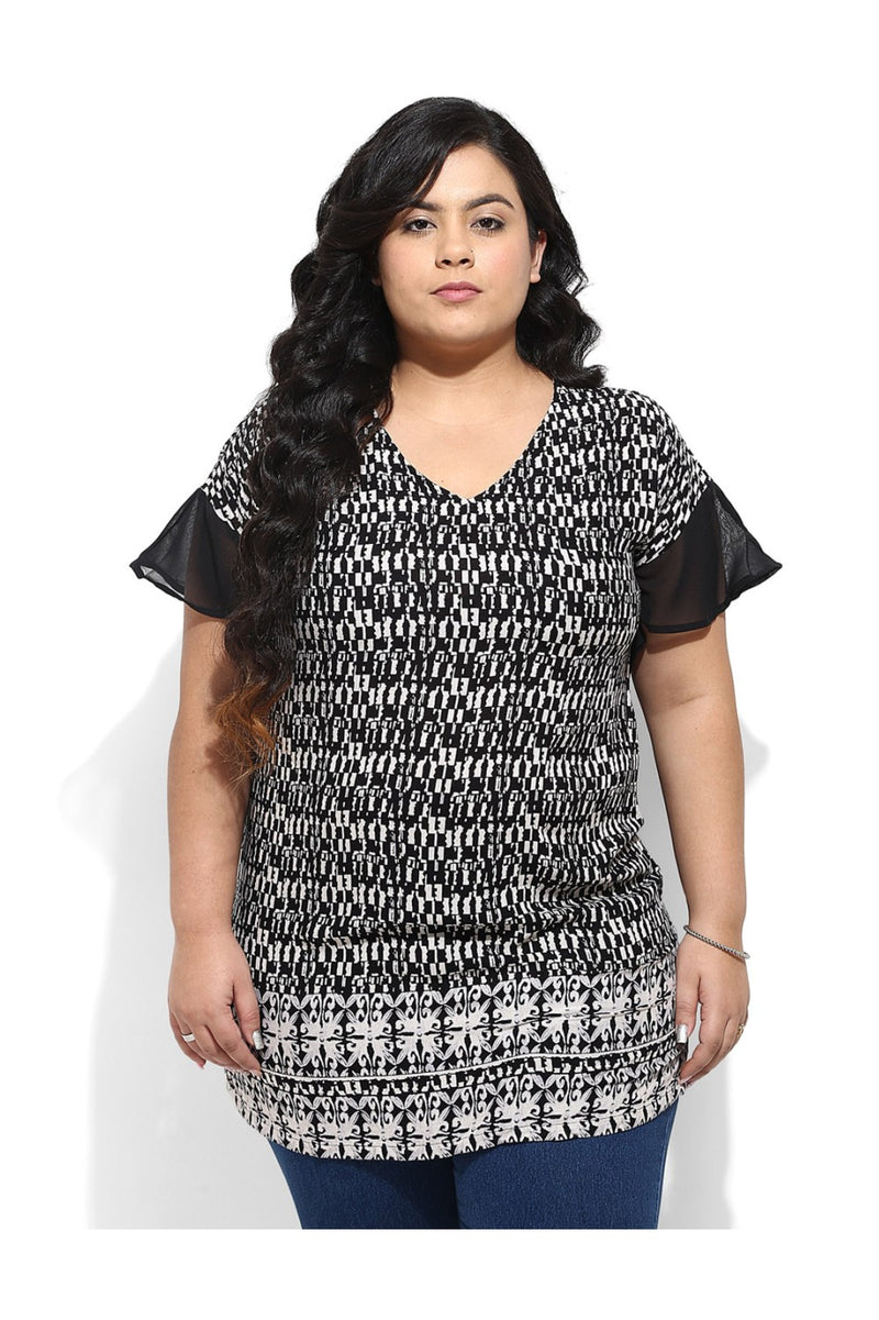 Butterfly Sleeve Black Print Top