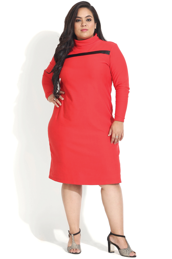 Red Leather Patch Autumn Dress