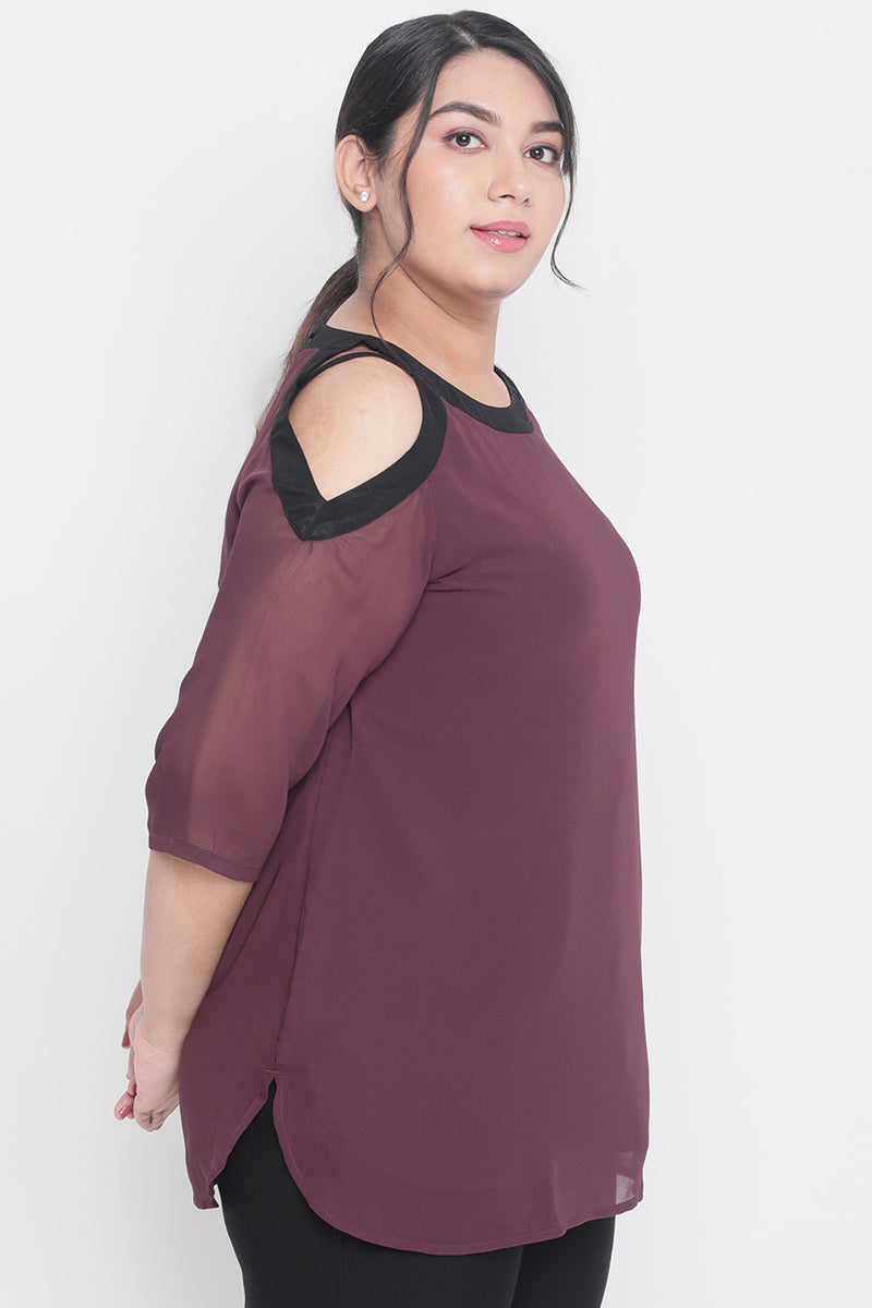 Plum & Black Cold Shoulder Georgette Top